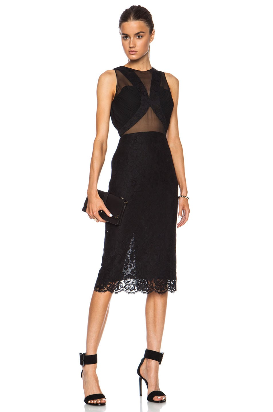 Image 1 of Cushnie et Ochs Lace Dress with Chiffon and Georgette Panels in Black