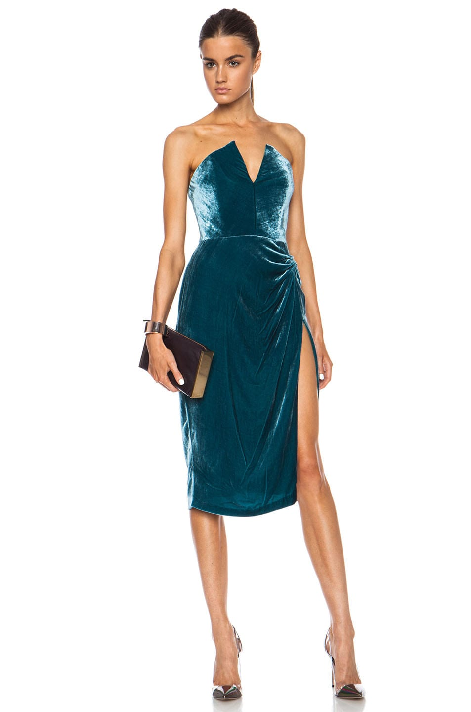 Image 1 of Cushnie et Ochs Velvet Dress in Teal