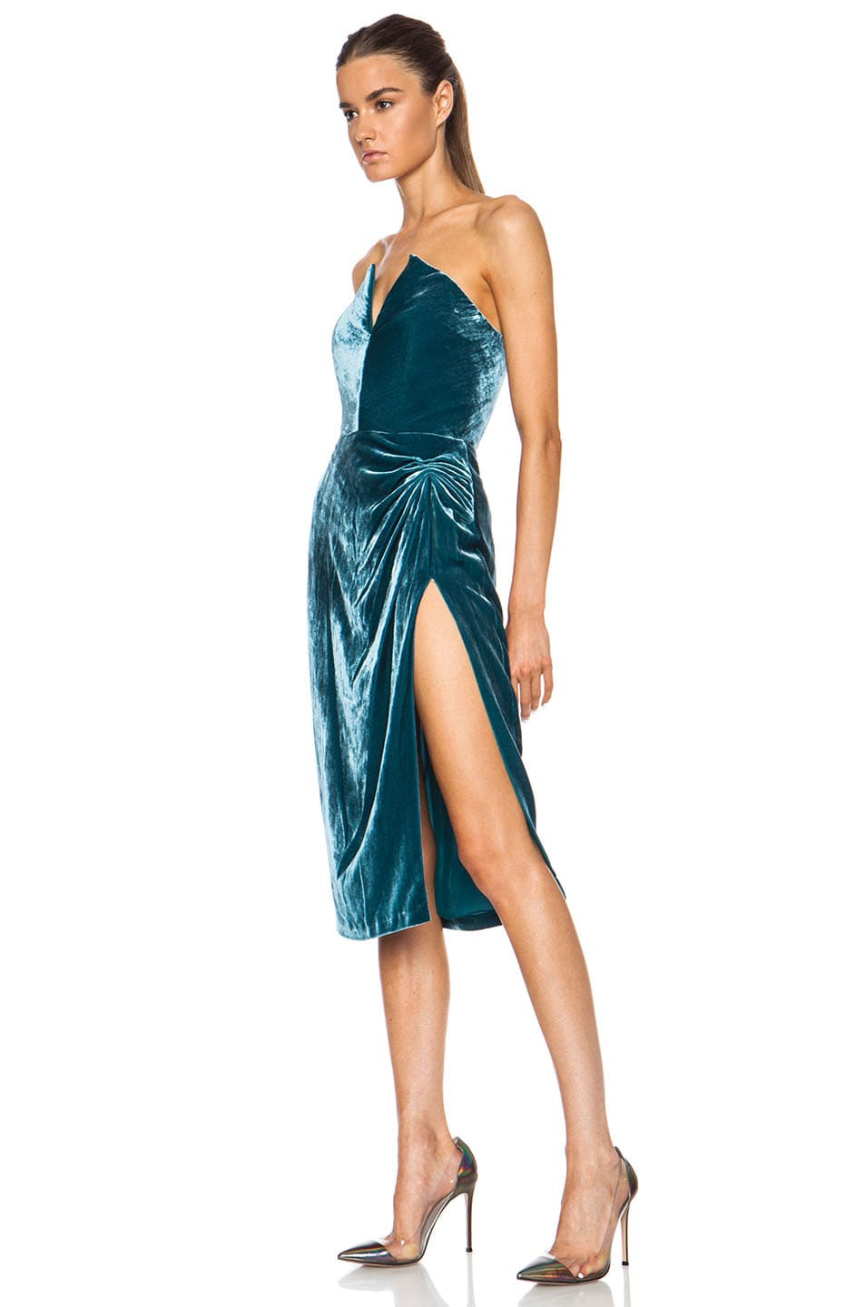 Image 2 of Cushnie Velvet Dress in Teal