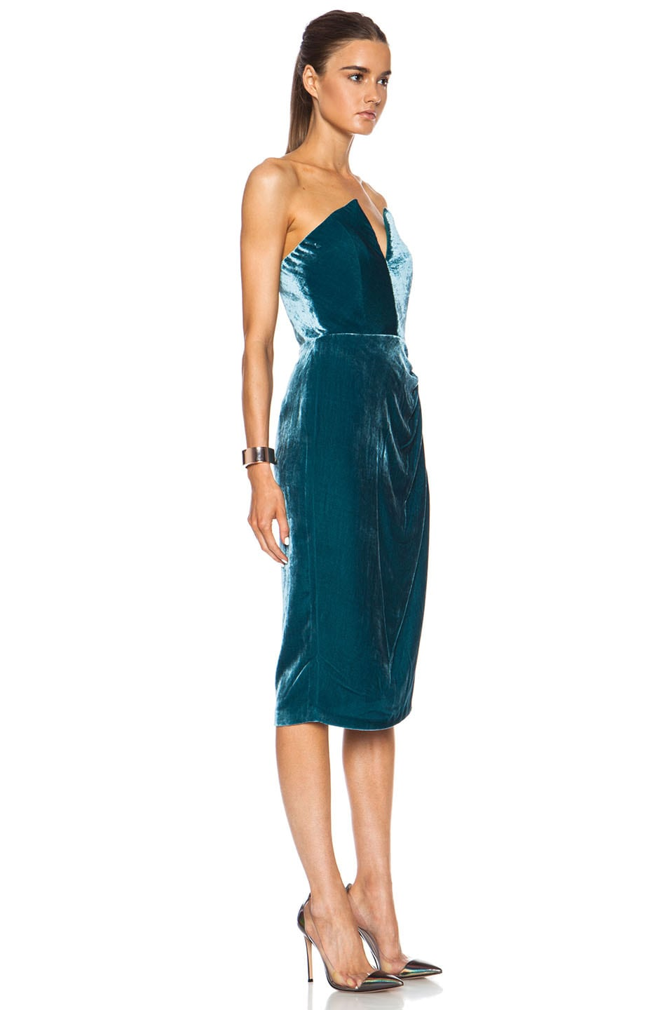 Image 3 of Cushnie Velvet Dress in Teal