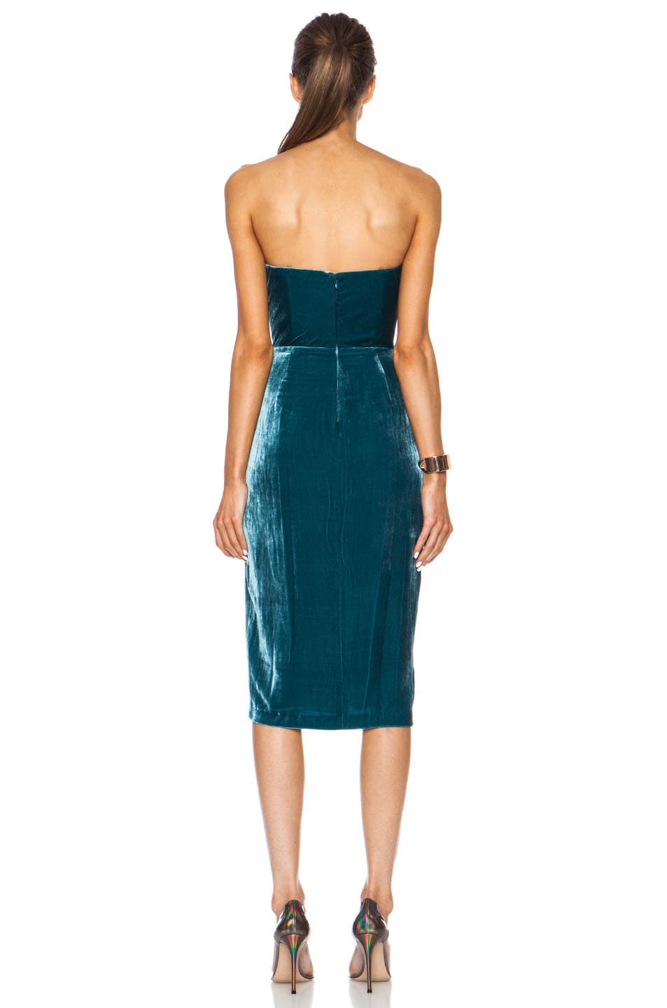 Image 4 of Cushnie Velvet Dress in Teal
