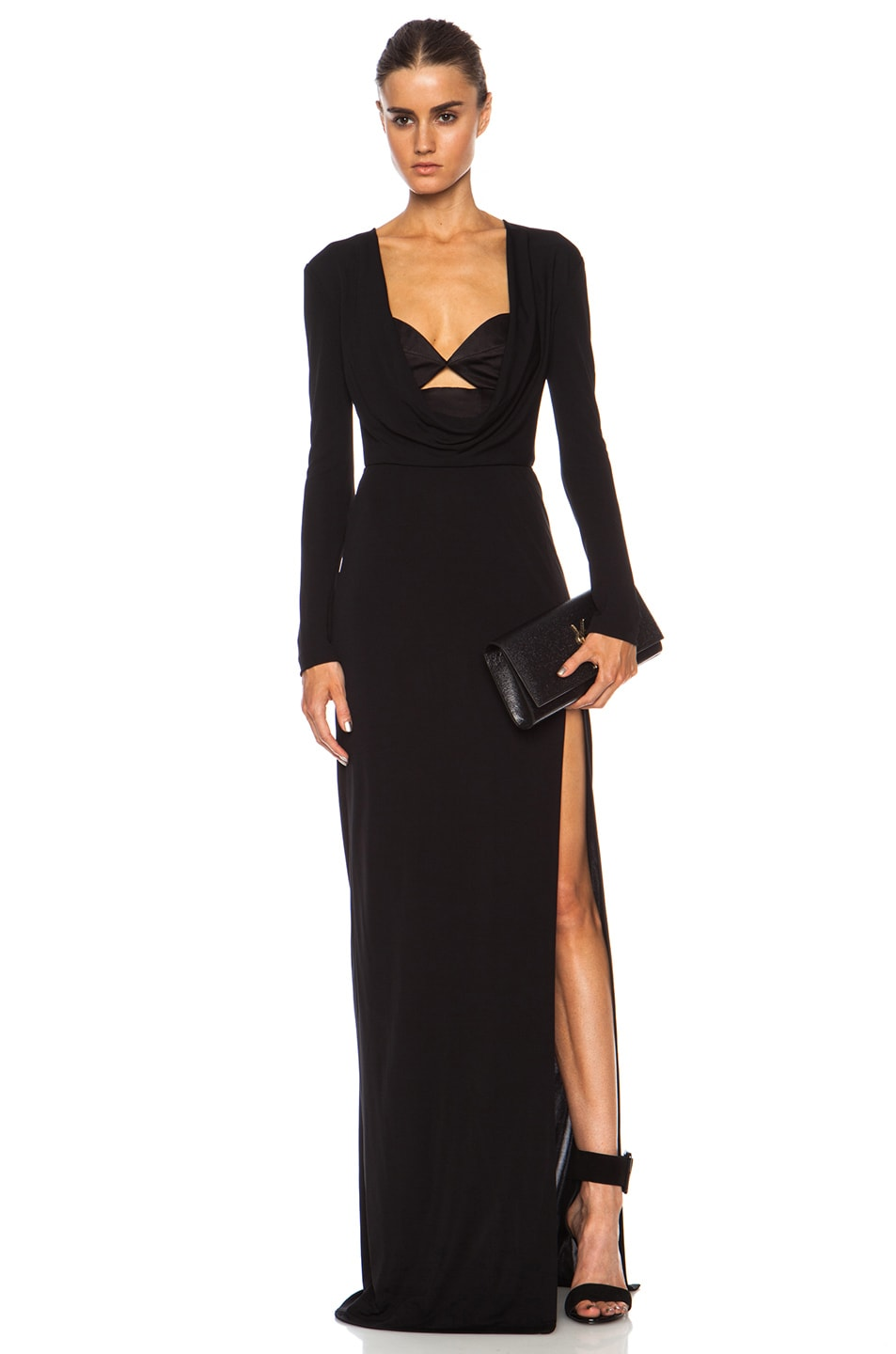 Image 1 of Cushnie et Ochs Matte Rayon Jersey Cutout Gown in Black