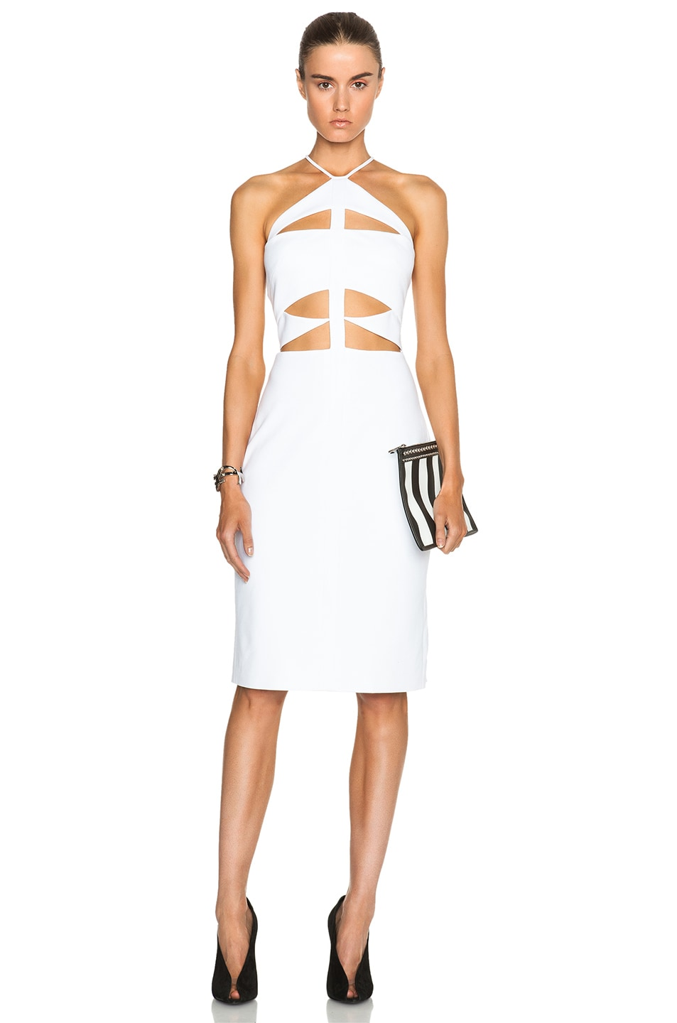 Image 1 of Cushnie et Ochs Oscar Jersey Halter Dress with Cutouts in White