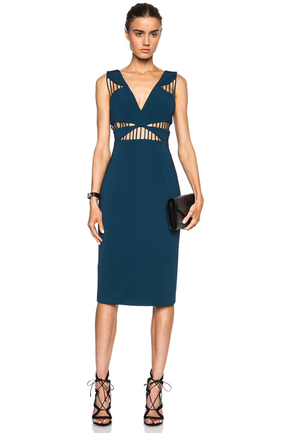 Image 1 of Cushnie et Ochs FORWARD EXCLUSIVE Power Viscose-Blend Dress in Blue Nile