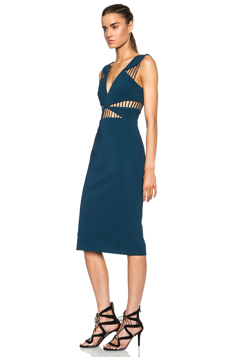 Image 2 of Cushnie et Ochs FORWARD EXCLUSIVE Power Viscose-Blend Dress in Blue Nile