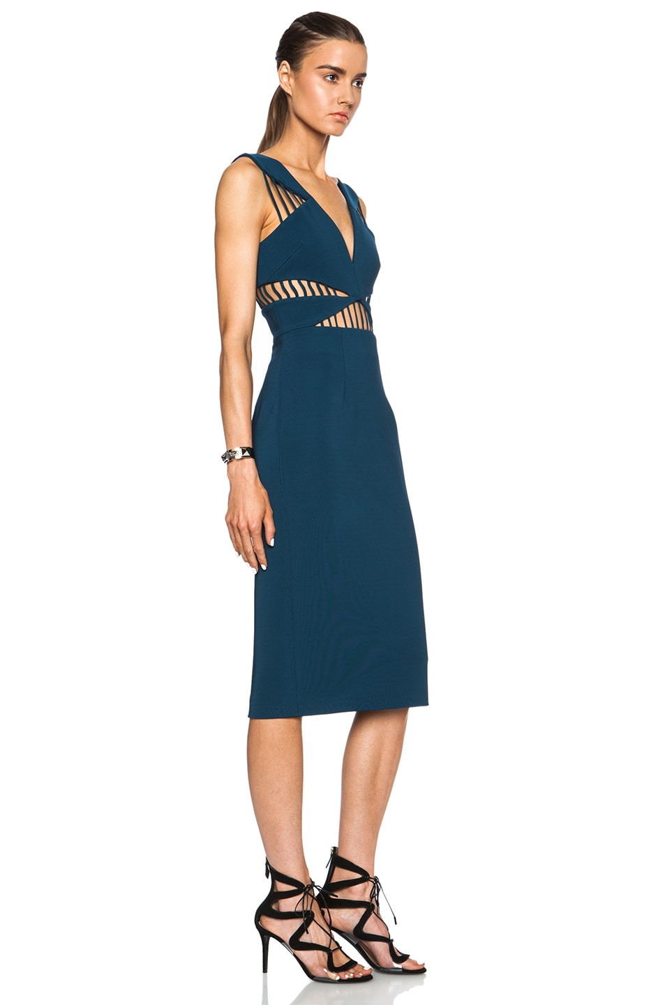 Image 3 of Cushnie et Ochs FORWARD EXCLUSIVE Power Viscose-Blend Dress in Blue Nile