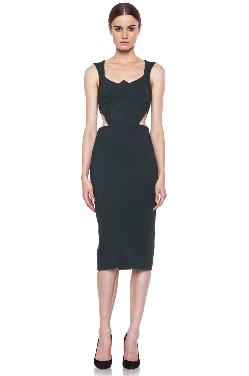 Image 1 of Cushnie et Ochs Oscar Jersey Tank Dress in Forest Green