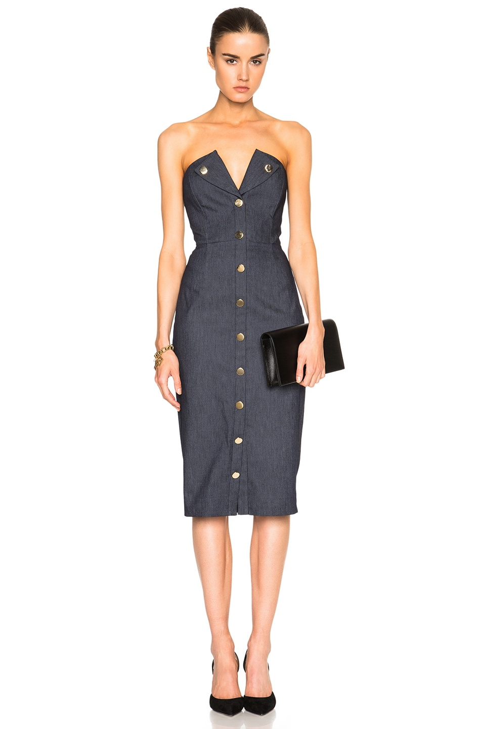 Image 1 of Cushnie et Ochs Stretch Denim Strapless Dress in Indigo