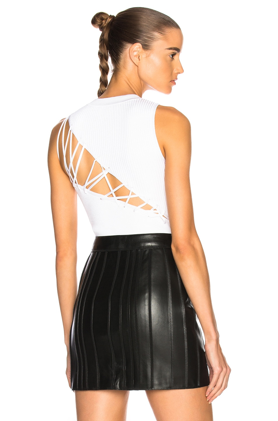 Cushnie et Ochs Angled Back Lacing Sleeveless Bodysuit in White