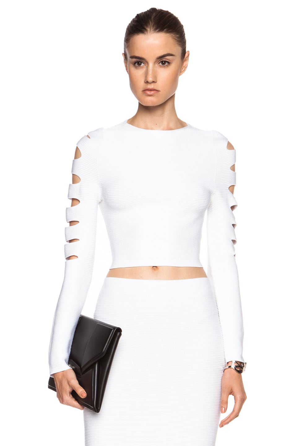 Image 1 of Cushnie et Ochs Cropped Cutout Viscose Sweater in White