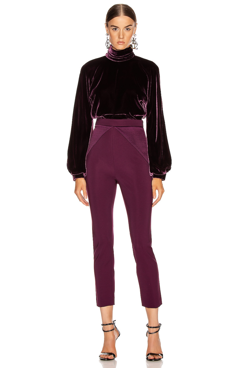 Image 4 of Cushnie High Waisted Fitted Cropped Pant in Plum