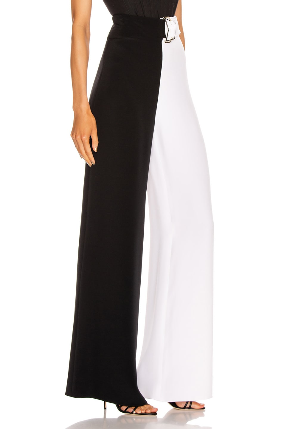 Image 2 of Cushnie High Waisted Wide Leg Pant in Black & White