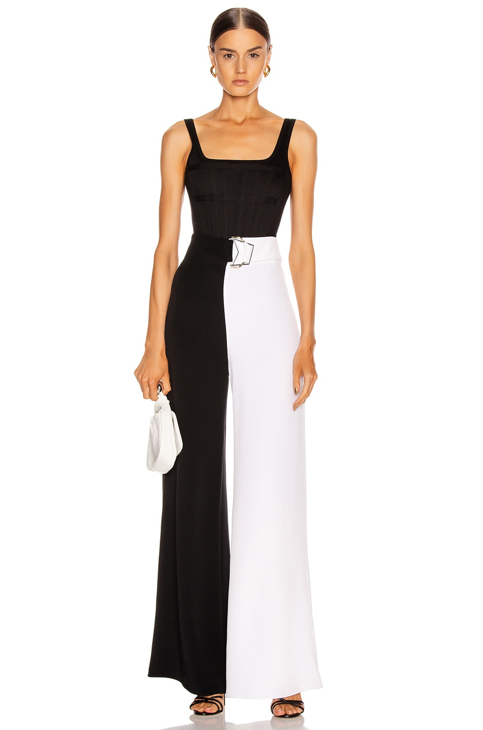 Image 5 of Cushnie High Waisted Wide Leg Pant in Black & White