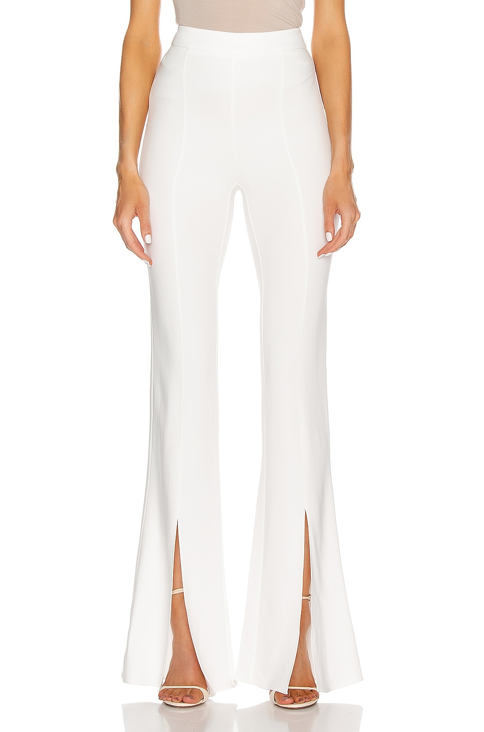 Image 1 of Cushnie High Waisted Slim Flare Pant in White