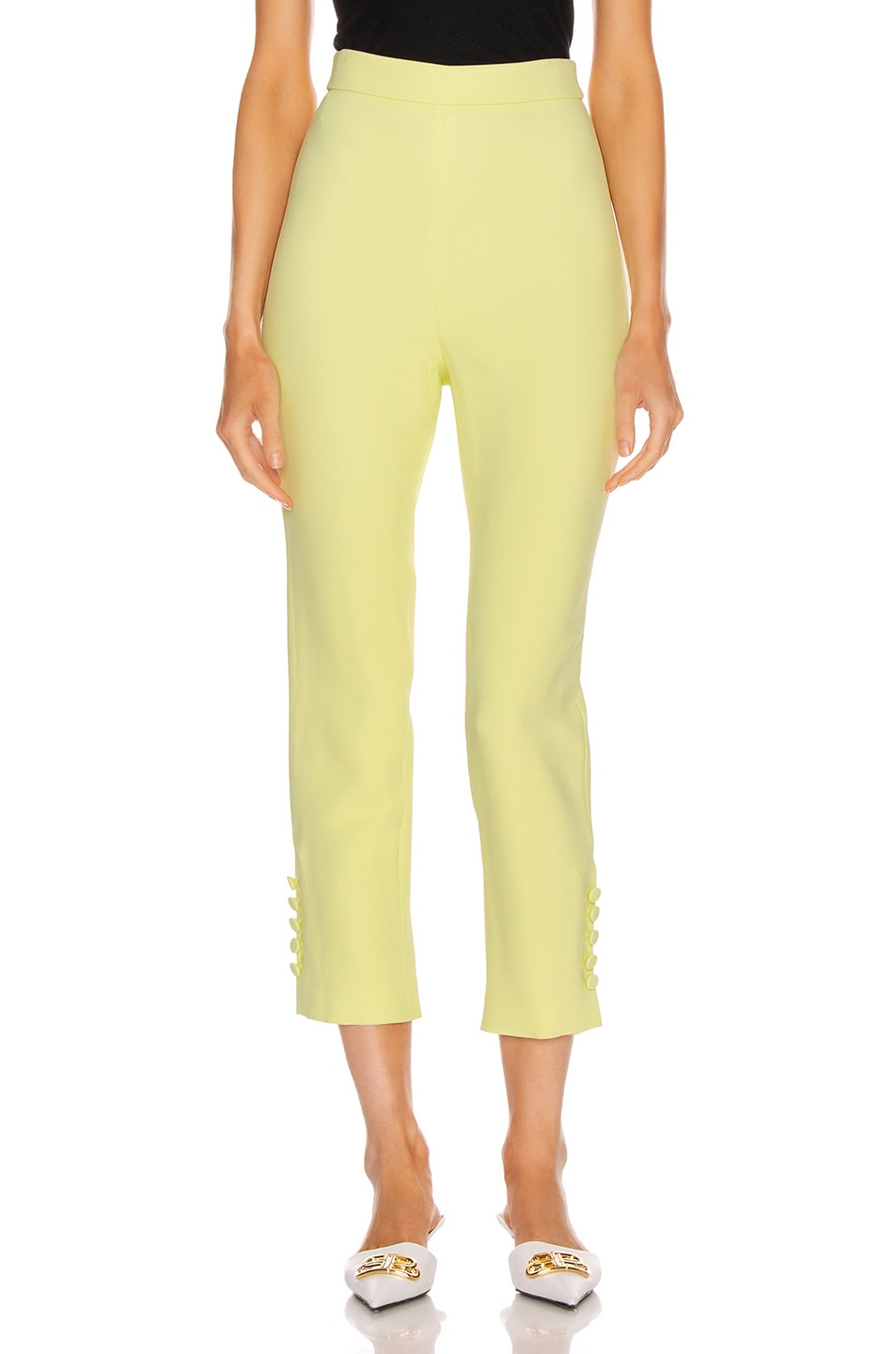 Image 1 of Cushnie High Waisted Cropped Pant in Celery
