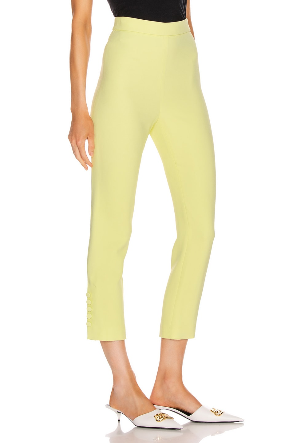Image 2 of Cushnie High Waisted Cropped Pant in Celery