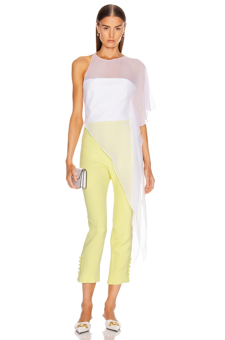 Image 4 of Cushnie High Waisted Cropped Pant in Celery
