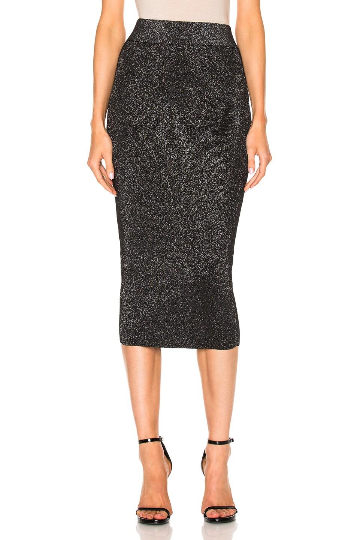 0a870b440d Image 1 of Cushnie Knit Pencil Skirt in Metallic Black