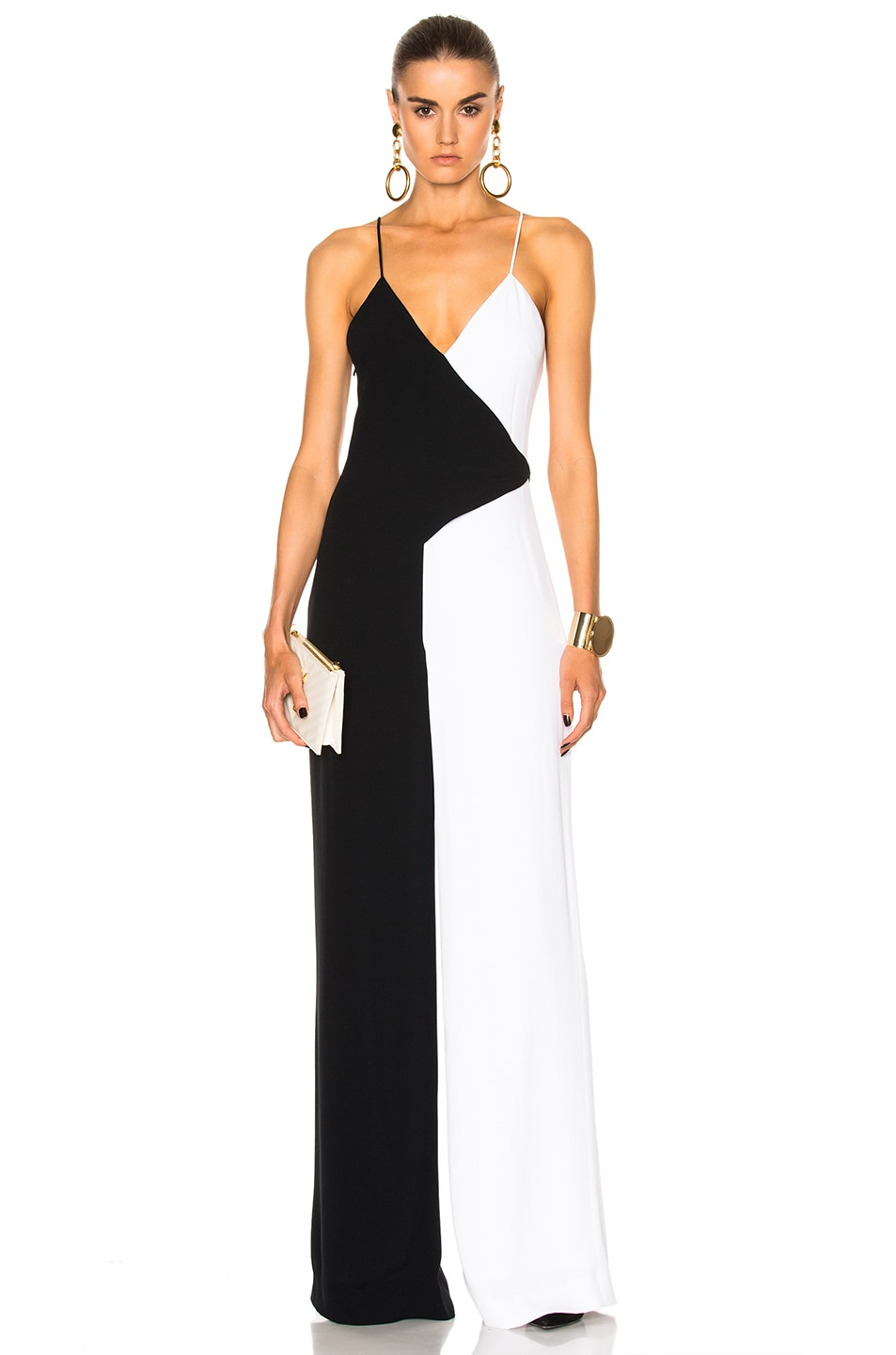 Image 1 of Cushnie Two Tone Wide Leg Jumpsuit in Black & White