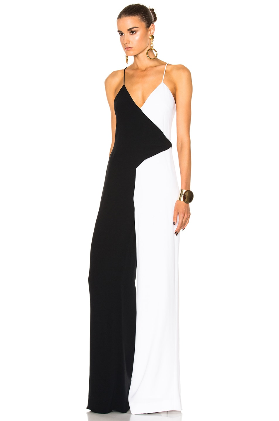 Image 2 of Cushnie Two Tone Wide Leg Jumpsuit in Black & White