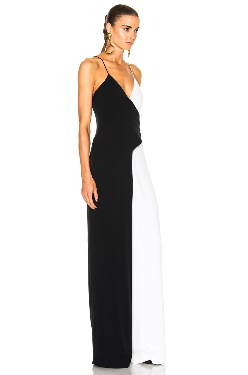 Image 3 of Cushnie Two Tone Wide Leg Jumpsuit in Black & White