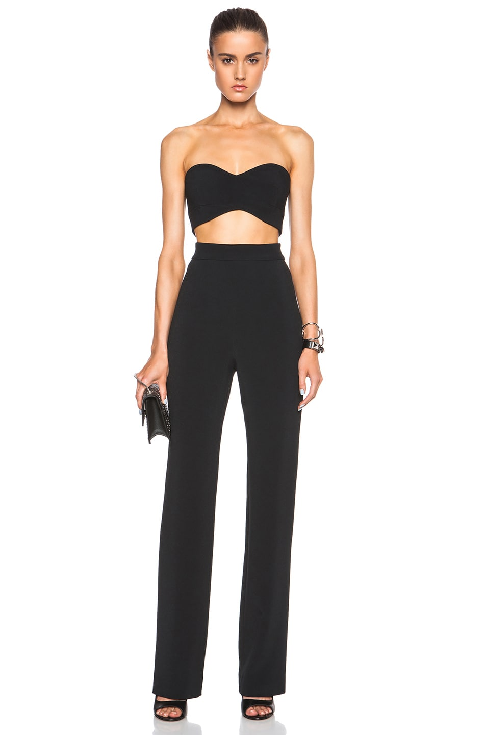 Image 1 of Cushnie et Ochs FORWARD EXCLUSIVE Stretch Cady Strapless Jumpsuit in Black