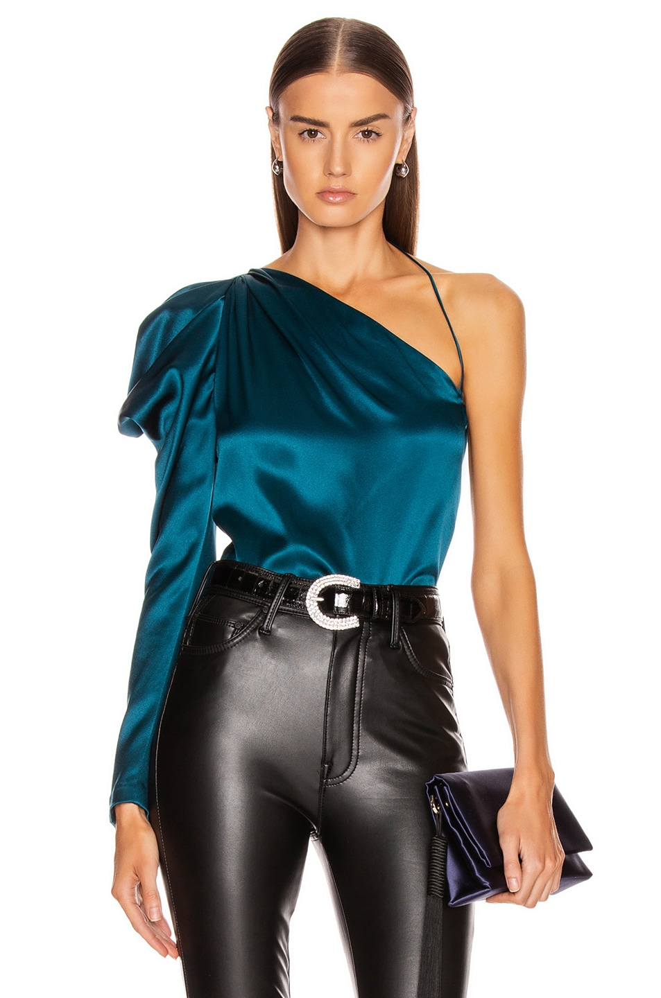 Image 1 of Cushnie One Shoulder Fitted Top in Dark Teal