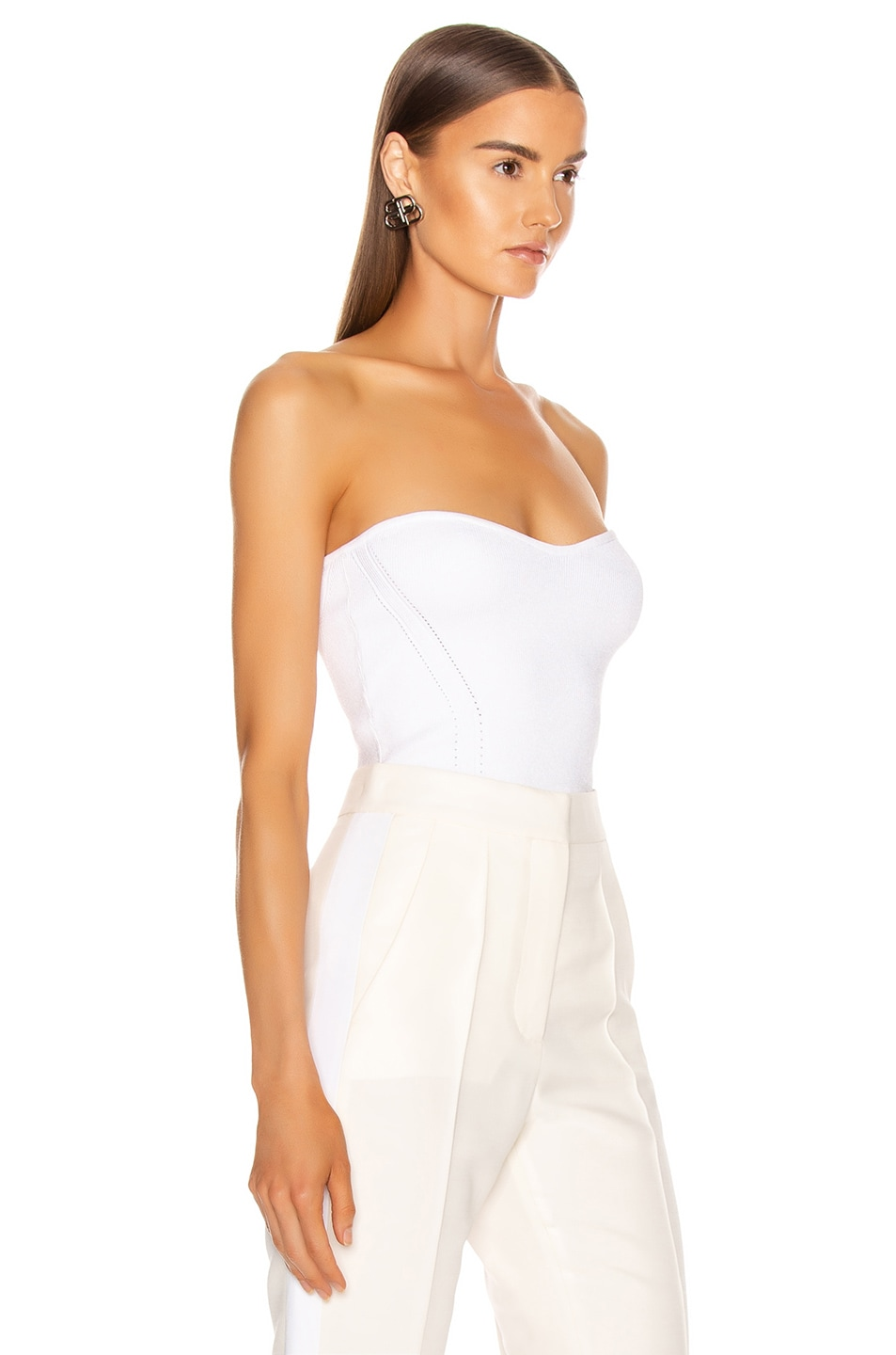 Image 2 of Cushnie Strapless Fitted Knit Top in White