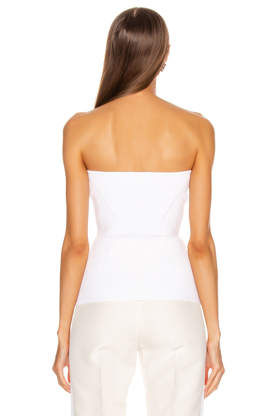 Image 3 of Cushnie Strapless Fitted Knit Top in White