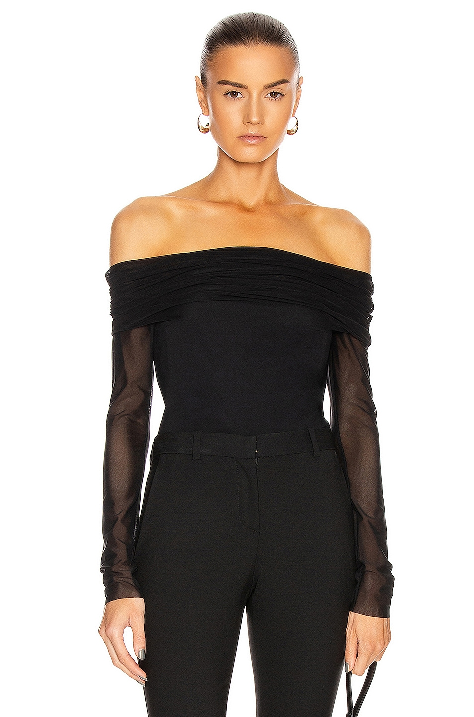 Image 1 of Cushnie Off the Shoulder Fitted Top in Black