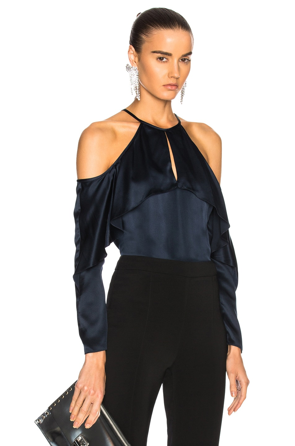 f6adae36d7cb39 Image 1 of Cushnie Cold Shoulder Keyhole Top in Midnight