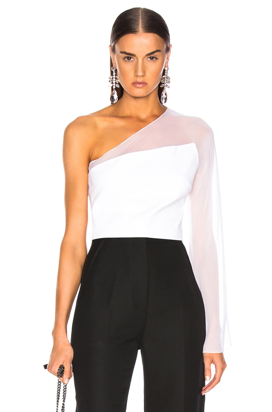 Image 1 of Cushnie One Shoulder Bell Top in White