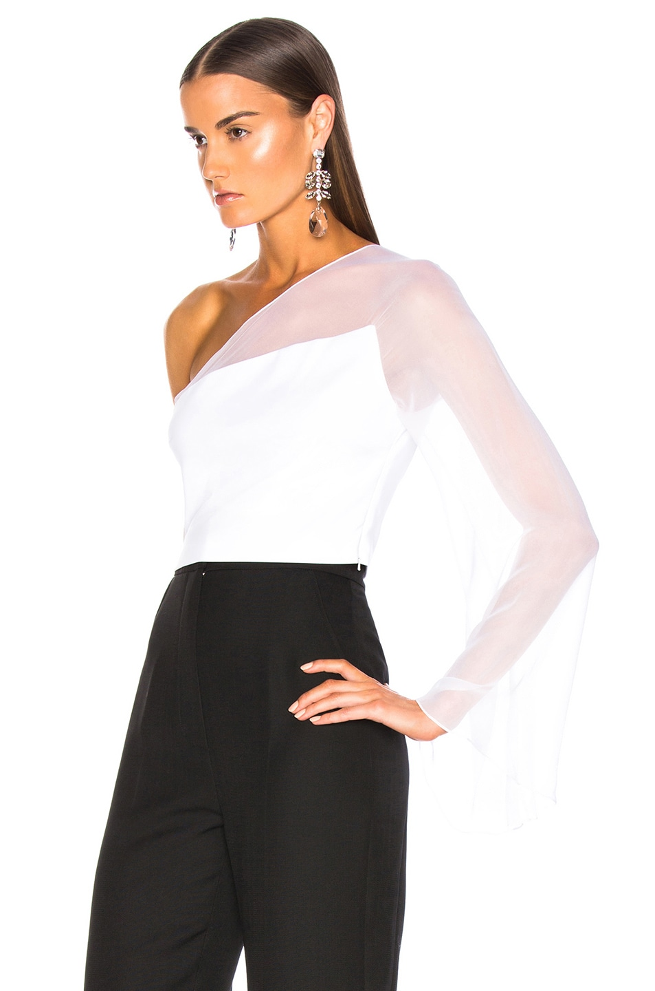 Image 3 of Cushnie One Shoulder Bell Top in White