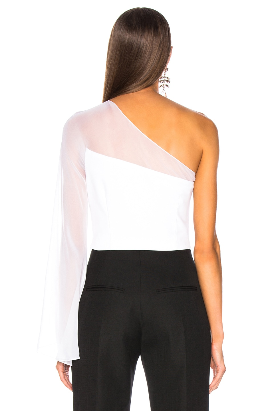 Image 4 of Cushnie One Shoulder Bell Top in White