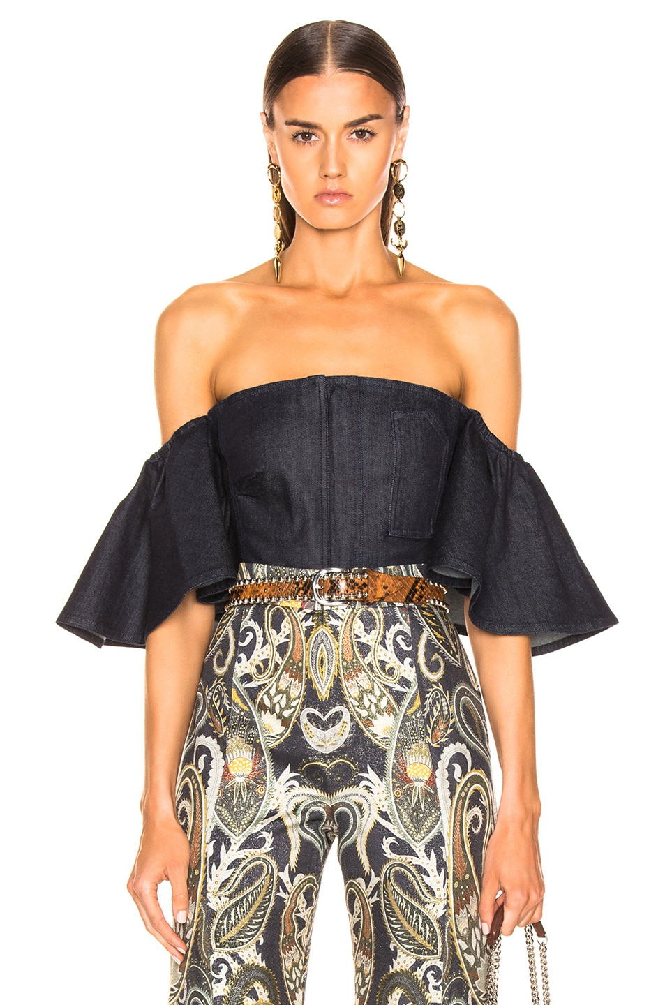 Image 1 of Cushnie x Lee Off the Shoulder Cropped Top in Rinse Wash
