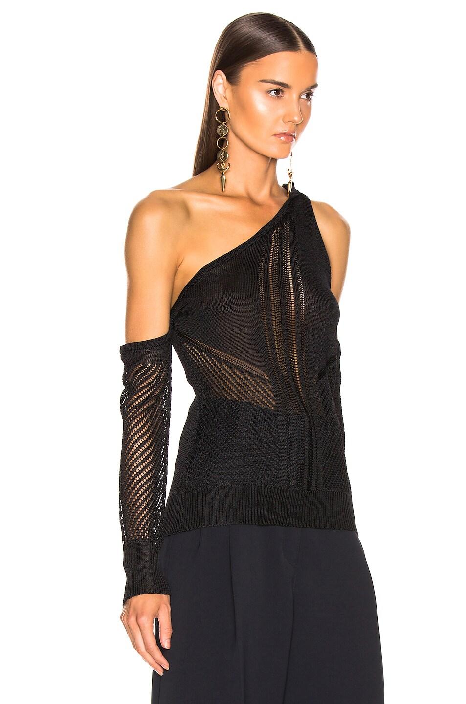 Image 2 of Cushnie Cold Shoulder Knit Top in Black