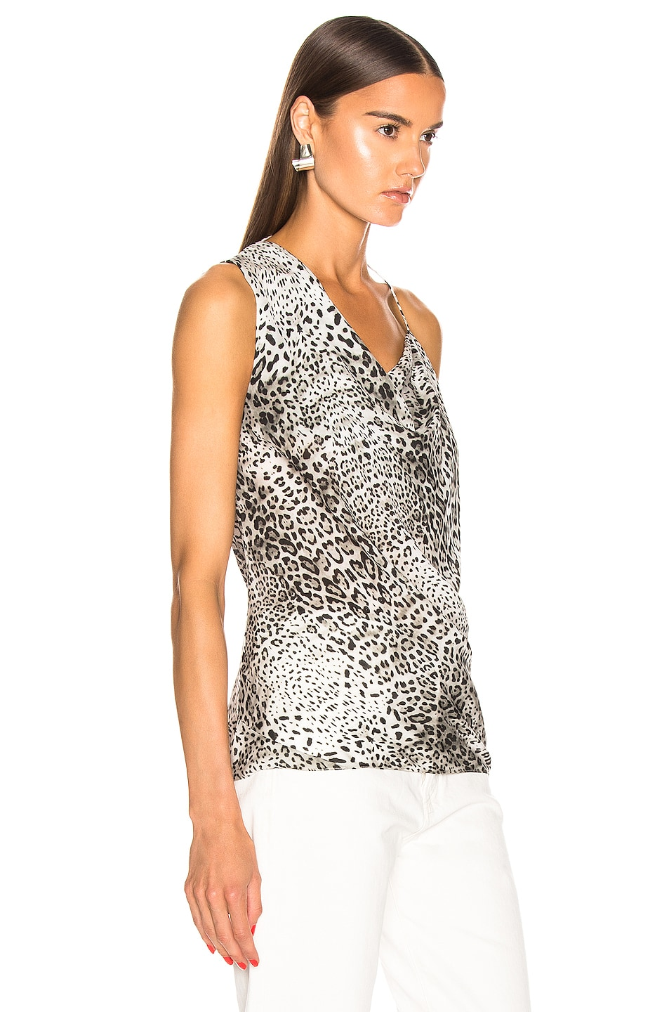 Image 2 of Cushnie Front Cowl Tank in White Leopard