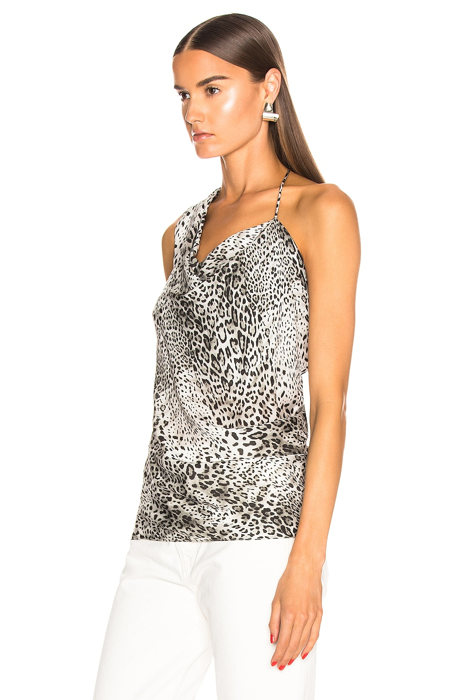 Image 3 of Cushnie Front Cowl Tank in White Leopard