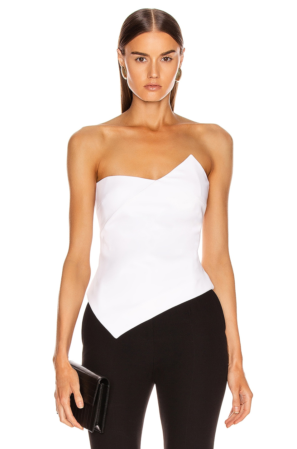 Image 1 of Cushnie Strapless Asymmetrical Corset Top in White