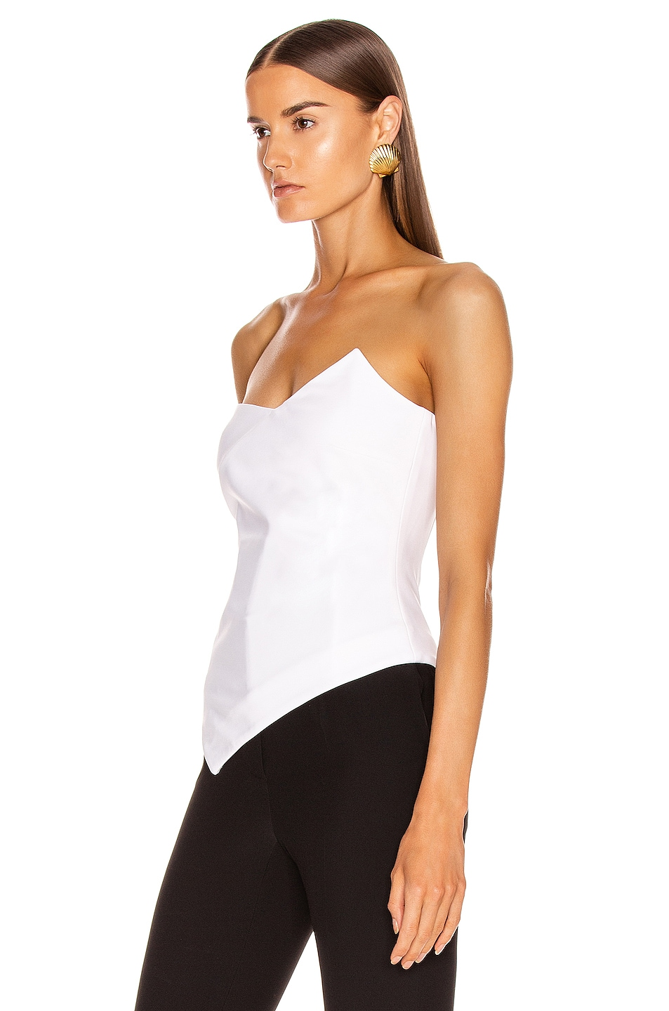 Image 3 of Cushnie Strapless Asymmetrical Corset Top in White