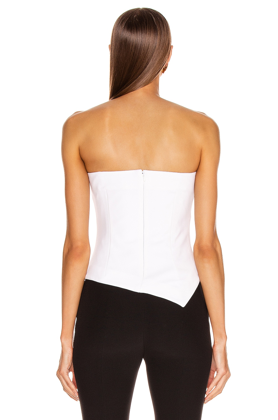 Image 4 of Cushnie Strapless Asymmetrical Corset Top in White
