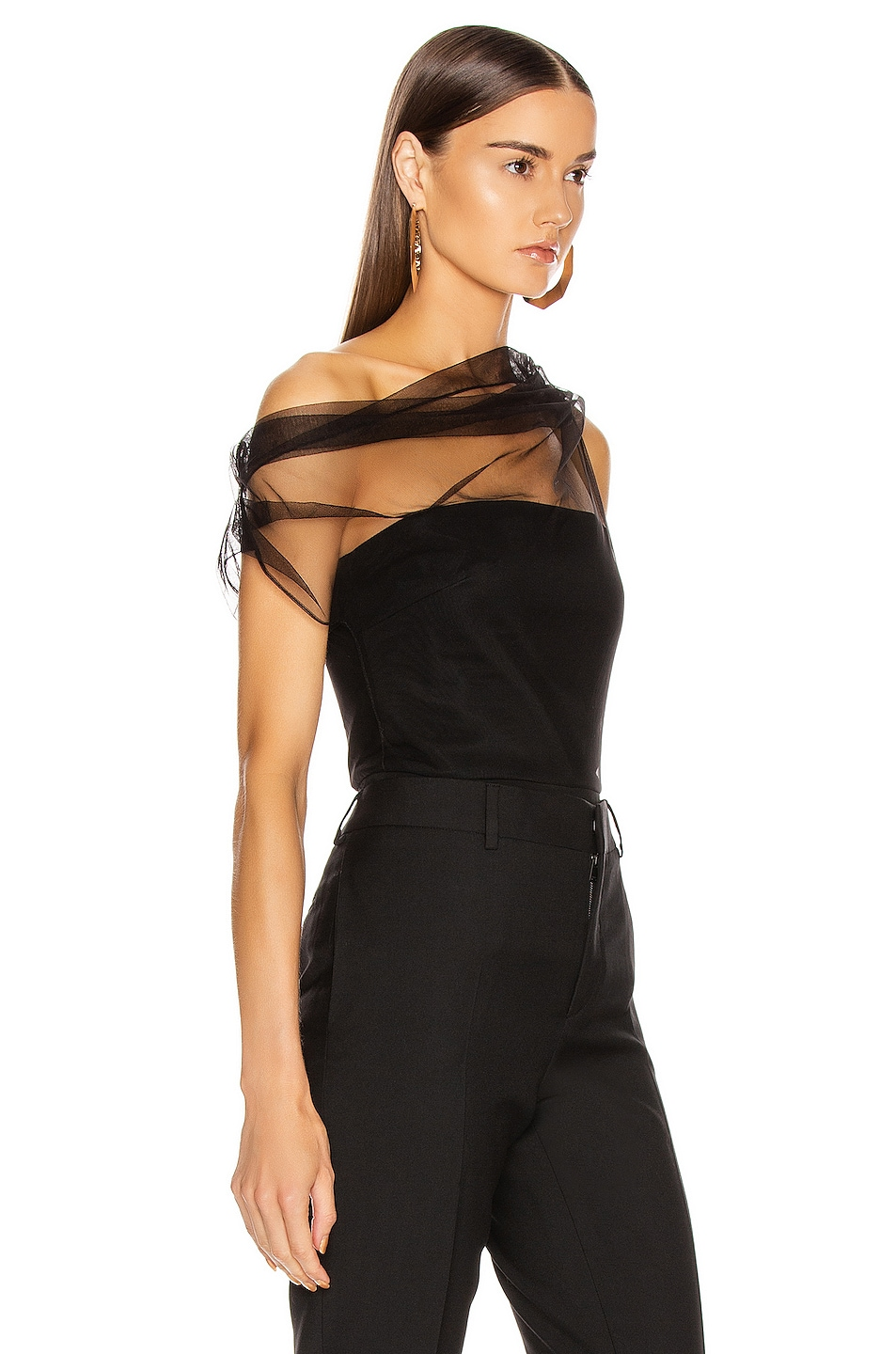 Image 2 of Cushnie Corset Tulle Overlay Top in Black