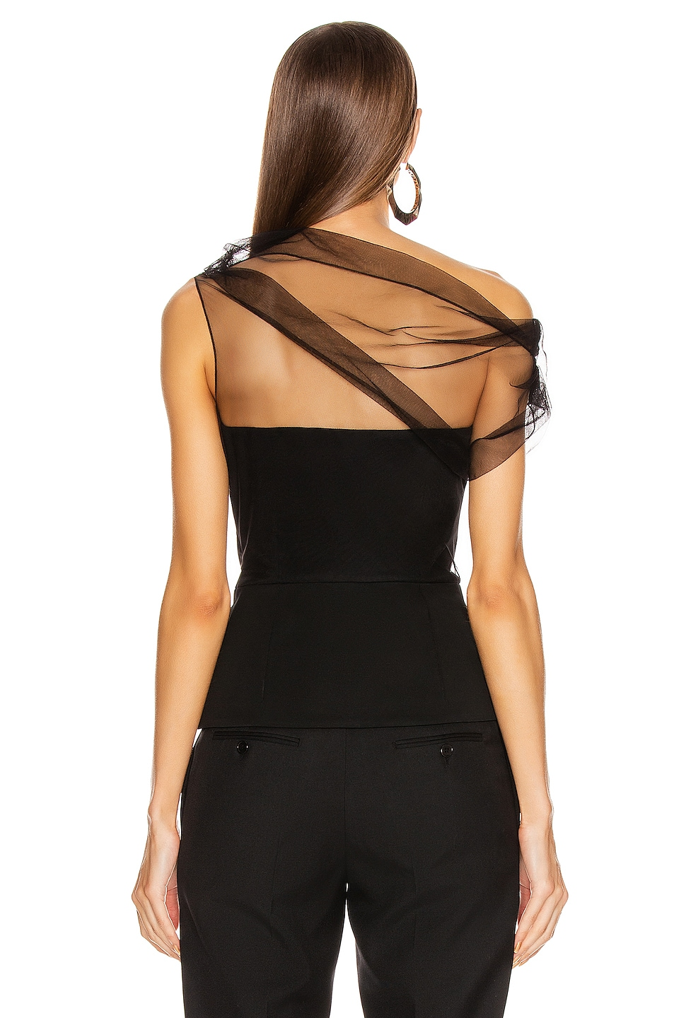 Image 4 of Cushnie Corset Tulle Overlay Top in Black