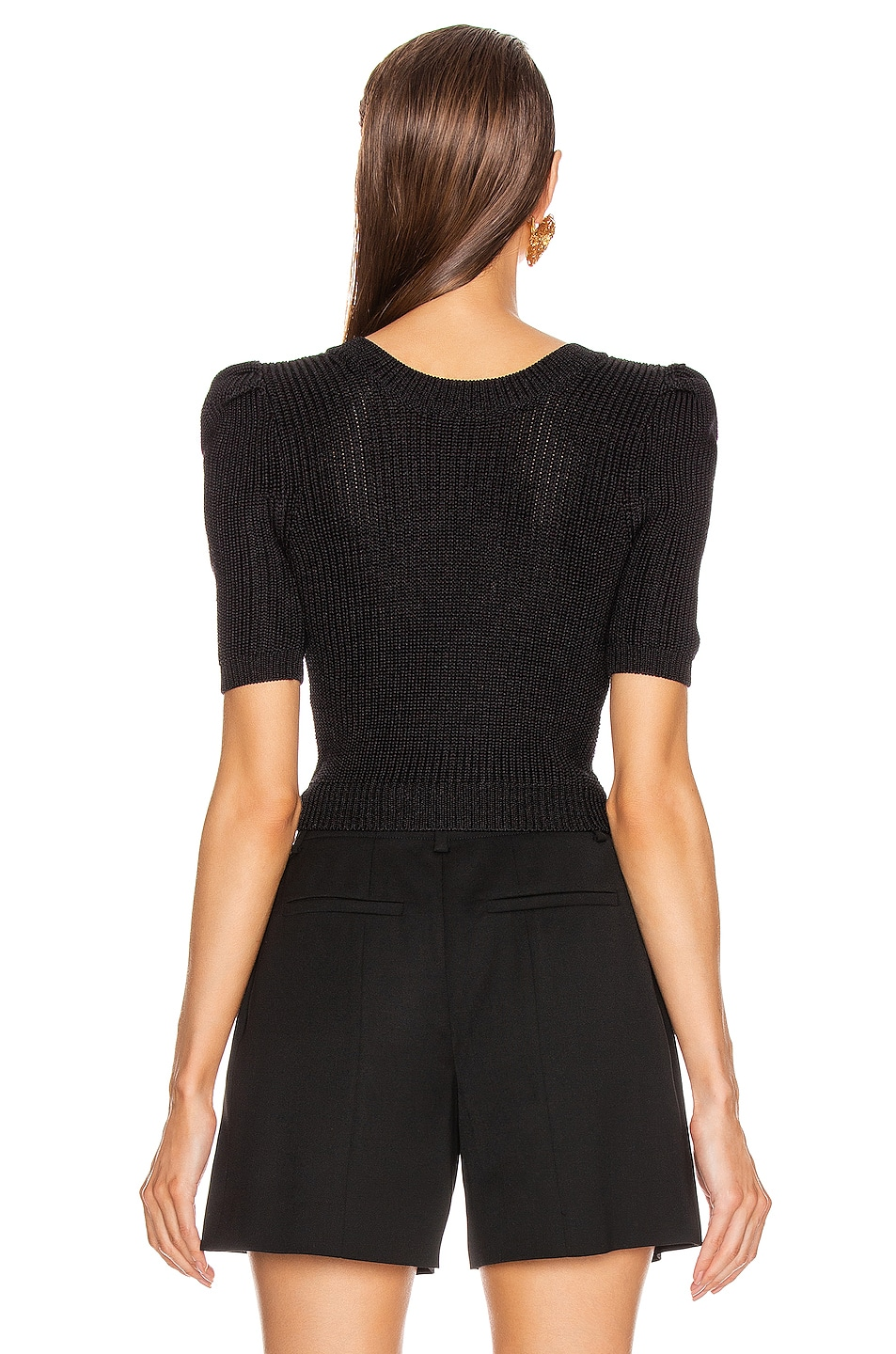 Image 3 of Cushnie Cropped Pleated Knit Top in Black