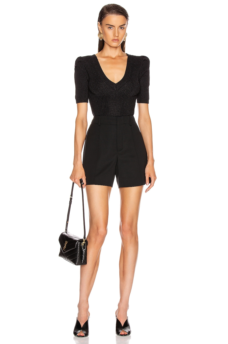 Image 4 of Cushnie Cropped Pleated Knit Top in Black