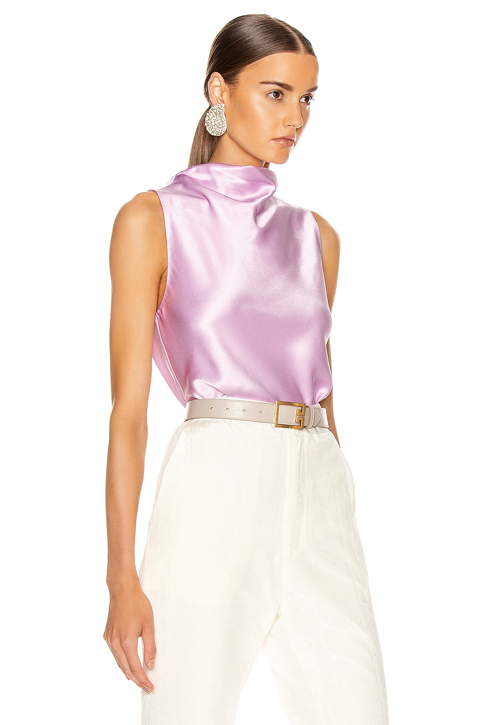 Image 3 of Cushnie High Neck Draped Tank in Lilac