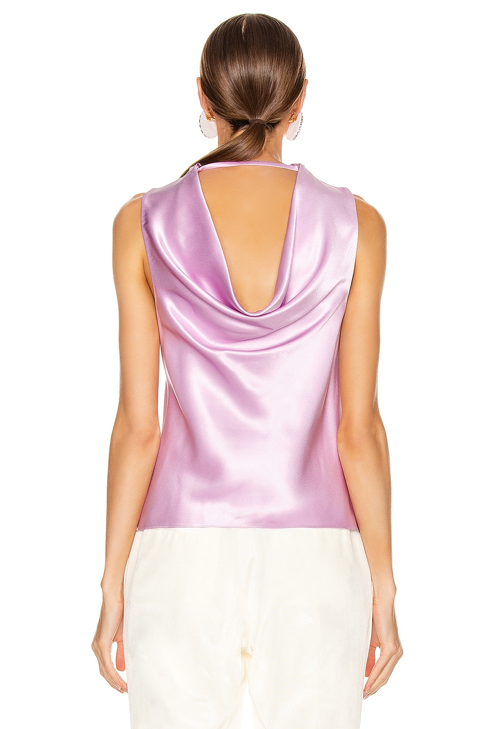 Image 4 of Cushnie High Neck Draped Tank in Lilac