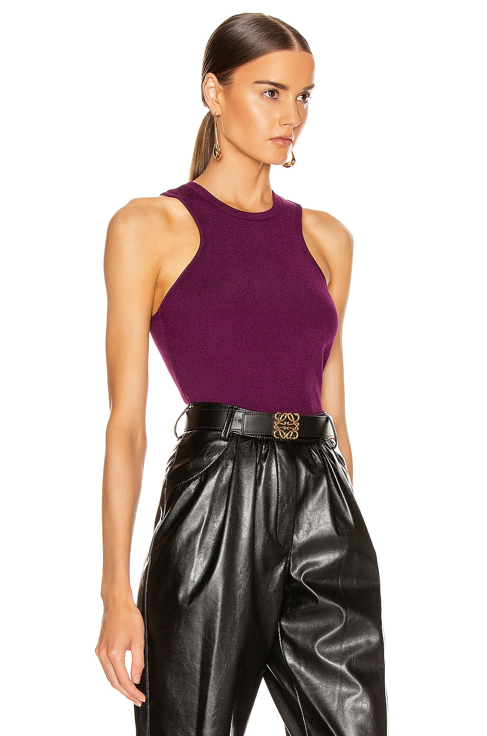 Image 2 of Cushnie Racer Cut Knit Tank in Plum