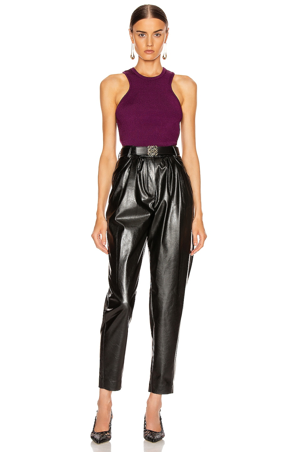 Image 4 of Cushnie Racer Cut Knit Tank in Plum
