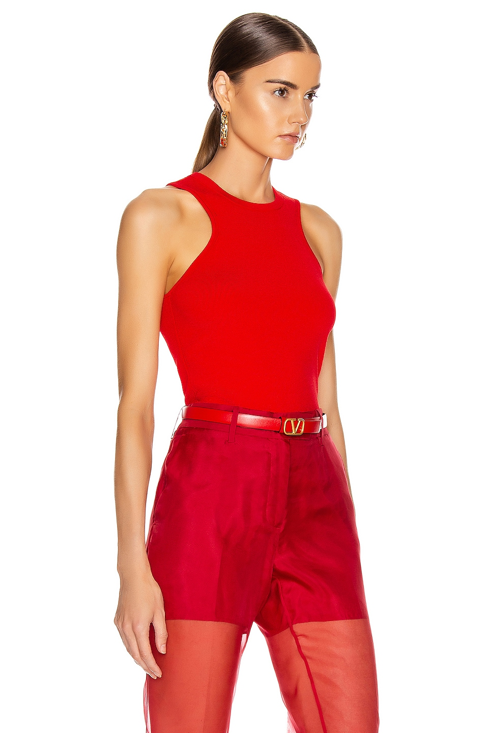 Image 2 of Cushnie Racer Cut Knit Tank in Vermillion